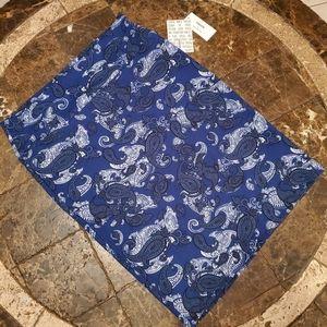 Lularoe Cassie Straight Skirt  L NWT Paisley Blue